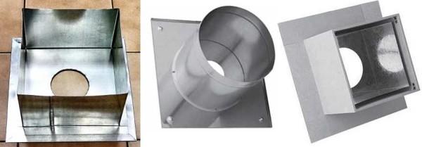 Пример металлического короба прохода через потолок