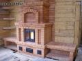Печь с лавочками и декоративной аркой