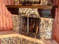 Угловой камин с отделкой мозаикой