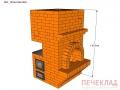 Печь с камином и варочной pk2_1015x760x1820