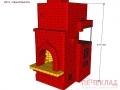 Печь с камином и варочной pkv1_1140x1395x2310