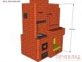 Печь с камином и варочной pkv3_1015x1395x1890